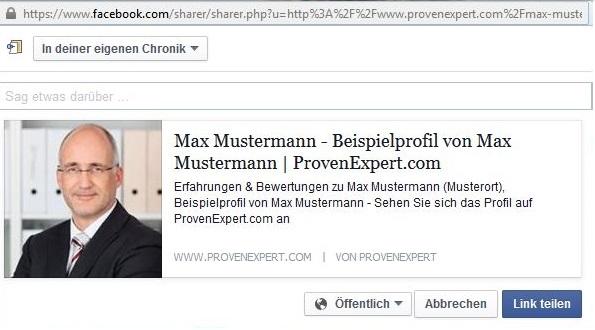 Kundenfeedback mit persönlicher Nachricht auf Facebook teilen