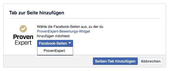 Wählen Sie hier die Facebook-Seiten aus, auf denen das Facebook-Bewertungs-Widget eingebunden werden soll. Wir haben unsere ProvenExpert-Seite ausgewählt.