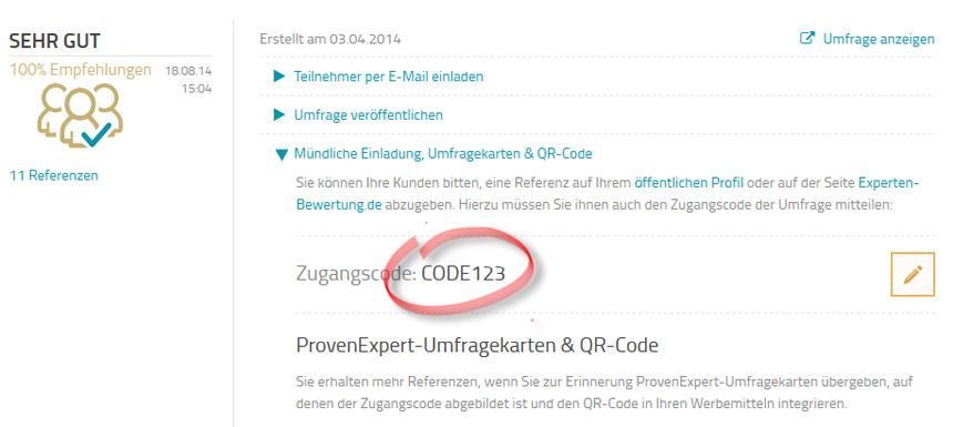 Code von Umfrage-Seite entnehmen