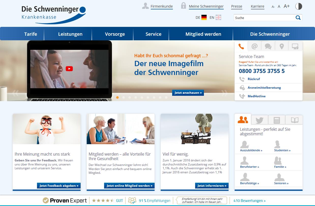 Immer gut sichtbar, auch beim Scrollen: Das Bewertungssiegel auf der Schwenninger Webseite.