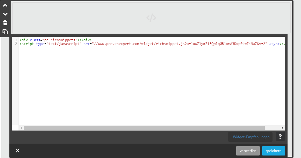 HTML code einfugen