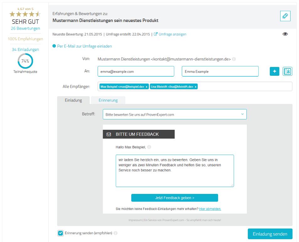 Bei der E-Mail-Einladung zur Umfrage können Sie die gespeicherte Text-Vorlage übernehmen oder nach Belieben ändern.