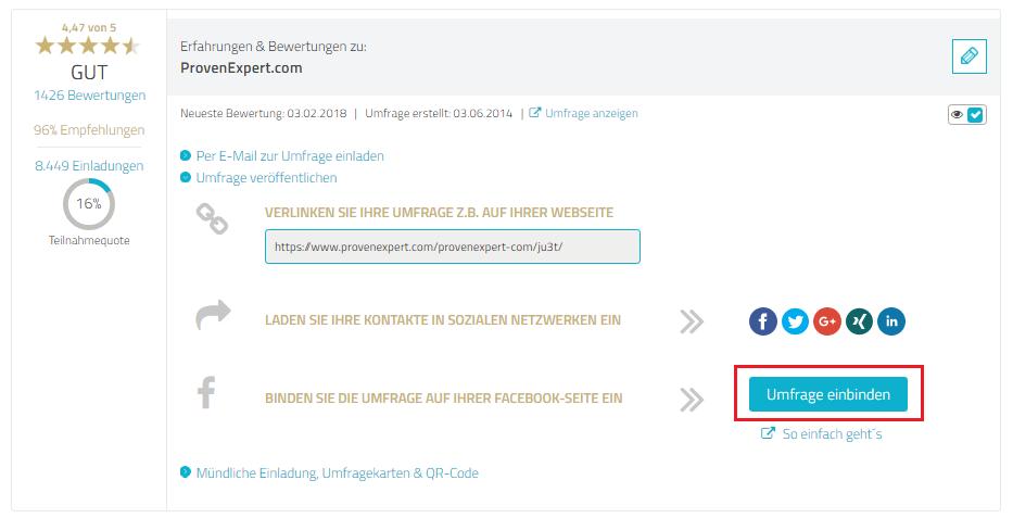 """Auf der Umfragen-Seite in ihrem ProvenExpert-Profil finden Sie unter jeder aktiven Umfrage einen Link """"Umfrage veröffentlichen"""". Dort einfach auch den Button """"Umfrage einbinden"""" klicken."""