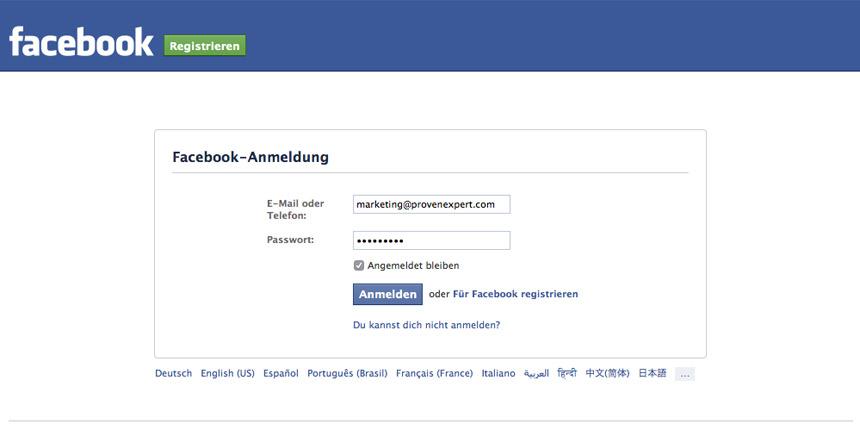 Melden Sie sich mit Ihren Benutzerdaten bei Facebook an.
