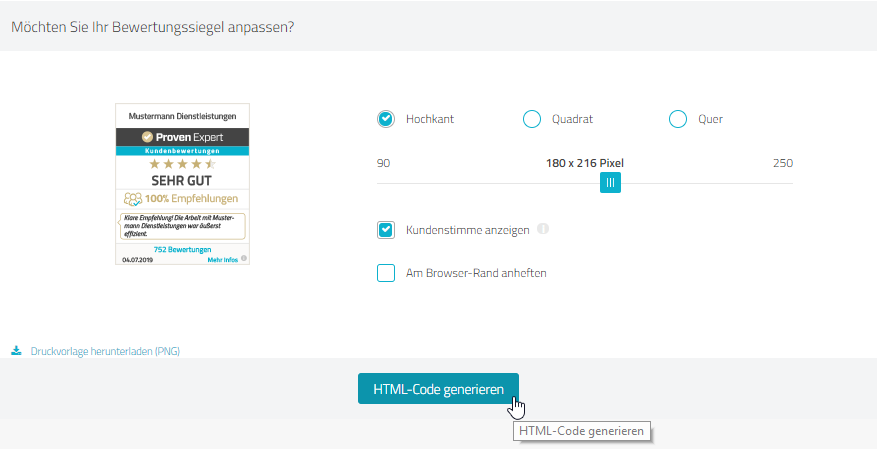 """Passen Sie Ihre Auswahl an & klicken auf """"HTML-Code generieren"""""""