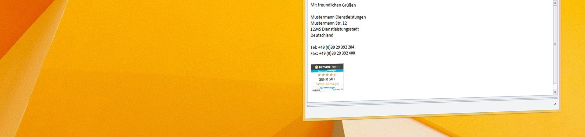 Tutorial: Bewertungssiegel in E-Mail- Signaturen einbinden